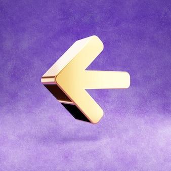 Ícone de seta para a esquerda isolado em veludo violeta