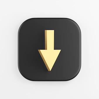 Ícone de seta para baixo de ouro. renderização 3d do botão de chave quadrado preto, elemento interface ui ux.