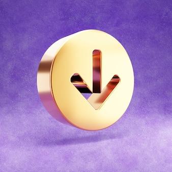 Ícone de seta para baixo isolado em veludo violeta