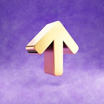 Ícone de seta para cima isolado em veludo violeta