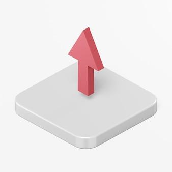 Ícone de seta vermelha para cima no elemento ui ux da interface de renderização 3d