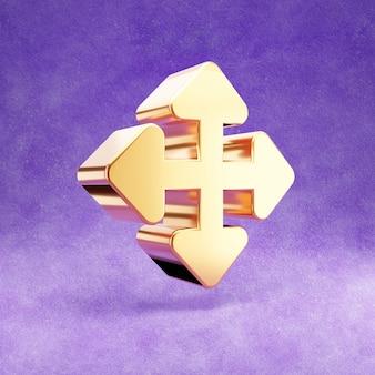Ícone de setas em todas as direções isolado em veludo violeta
