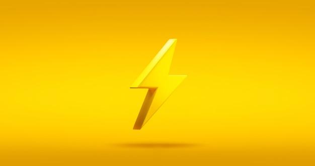 Ícone de símbolo de raio de energia trovão ou sinal elétrico de energia elétrica na ilustração amarelo gráfico elemento 3d design plano de fundo com o conceito de tecnologia de logotipo de luz elétrica de inovação.