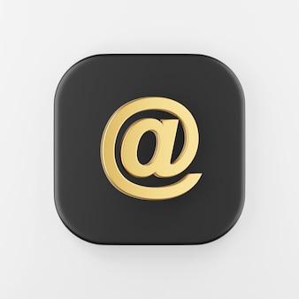 Ícone de símbolo dourado do e-mail, arroba. botão chave quadrado preto de renderização 3d, elemento interface ui ux.