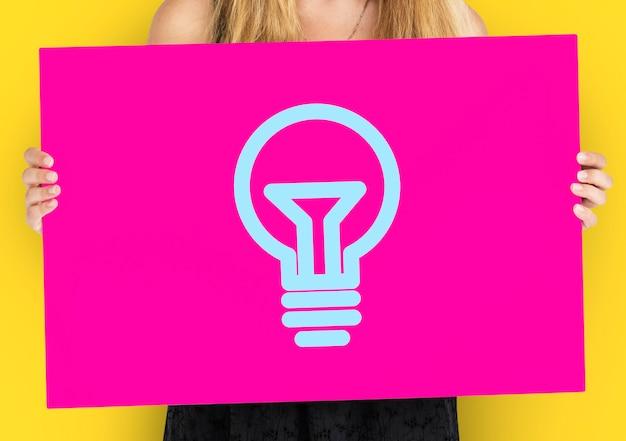 Ícone de símbolo gráfico de criatividade de ideia de lâmpada