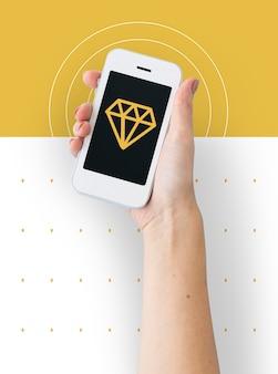 Ícone de símbolo gráfico de joias com gemas de diamante