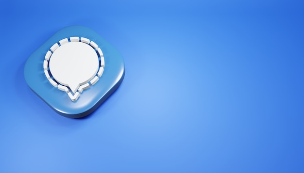 Ícone de sinal 3d render ilustração de mídia social azul simples e limpa