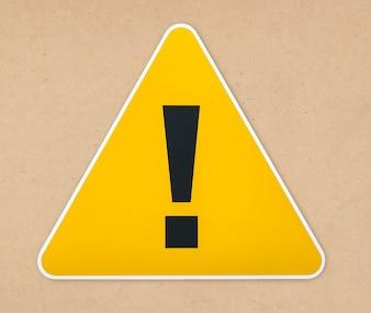 Ícone de sinal de aviso triângulo amarelo isolado