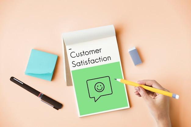 Ícone de sinal de feedback do atendimento ao cliente da avaliação da avaliação de satisfação