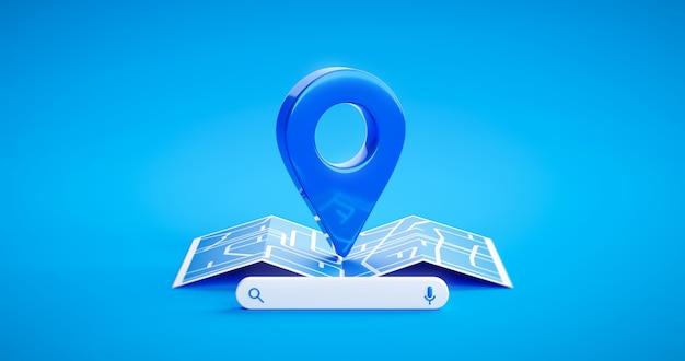 Ícone de sinal de pino de localização azul e direção de estrada do mapa de navegação gps ou símbolo de tecnologia de barra de pesquisa de internet no fundo de lugar de posição com localizar o navegador de destino de viagem de marca de rota. renderização 3d.