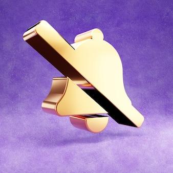 Ícone de sino cruzado isolado em veludo violeta