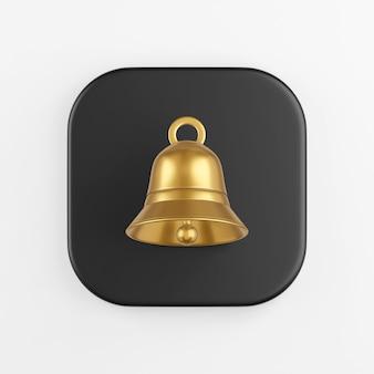 Ícone de sino dourado. renderização 3d do botão de chave quadrado preto, elemento interface ui ux.