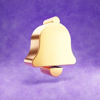 Ícone de sino isolado em veludo violeta