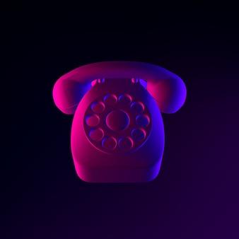 Ícone de telefone vintage de néon. elemento de interface ui ux de renderização 3d. símbolo escuro e brilhante.
