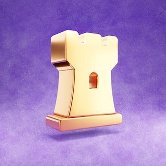 Ícone de torre de xadrez isolado em veludo violeta