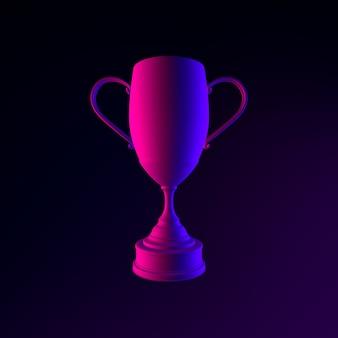 Ícone de troféu do vencedor. elemento de interface ui ux de renderização 3d. símbolo escuro e brilhante.