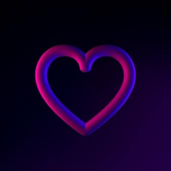 Ícone de um coração de néon de linha de contorno. elemento de interface ui ux de renderização 3d. símbolo escuro e brilhante.