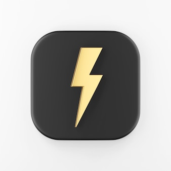Ícone de um raio dourado. botão chave quadrado preto de renderização 3d, elemento interface ui ux.