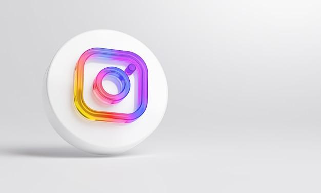 Ícone de vidro acrílico do instagram em renderização 3d de fundo branco.