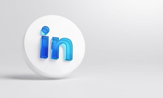 Ícone de vidro acrílico do linkedin em renderização 3d de fundo branco.