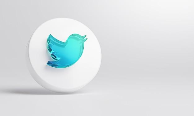 Ícone de vidro acrílico do twitter em renderização 3d de fundo branco.