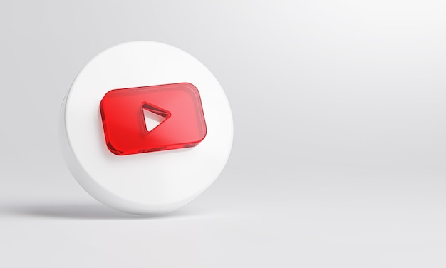Ícone de vidro acrílico do youtube em renderização 3d de fundo branco.