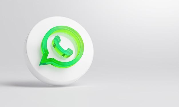 Ícone de vidro acrílico whatsapp em renderização 3d de fundo branco.