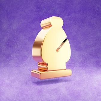 Ícone do bispo de xadrez isolado em veludo violeta