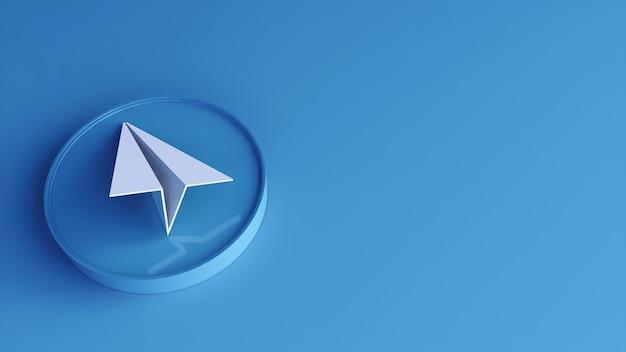 Ícone do botão do círculo do telegrama 3d com espaço da cópia. renderização 3d