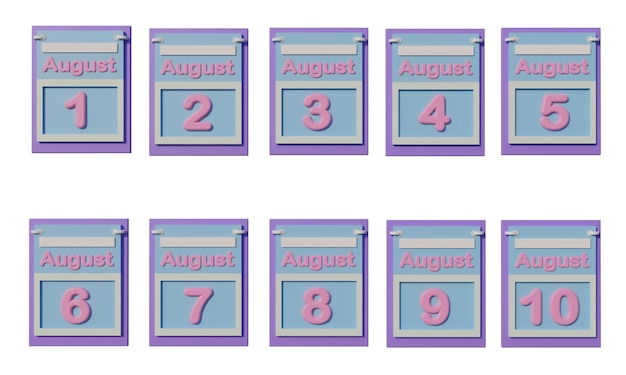 Ícone do calendário 3d em agosto com data de 11 a 20