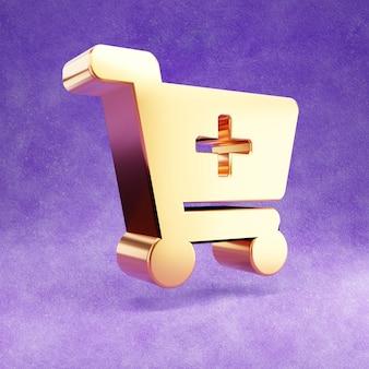 Ícone do carrinho de compras isolado em veludo violeta