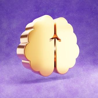 Ícone do cérebro isolado em veludo violeta