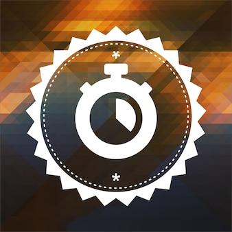 Ícone do cronômetro. design de rótulo retrô. fundo de hipster feito de triângulos, efeito de fluxo de cor.