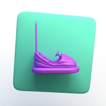 Ícone do entretenimento com carro para-choque em fundo branco isolado. ilustração 3d. aplicativo.