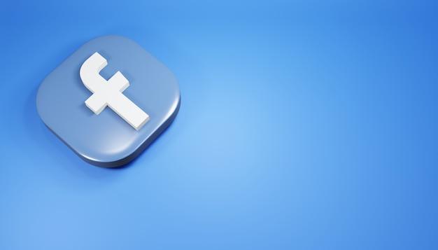 Ícone do facebook 3d render ilustração de mídia social azul simples e limpa