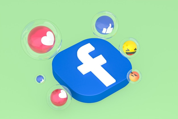 Ícone do facebook com emojis 3d render
