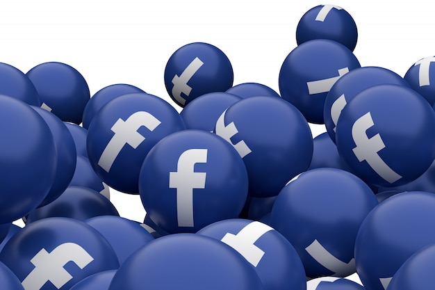 Ícone do facebook emoji 3d render, símbolo de balão de mídia social com padrão de ícones