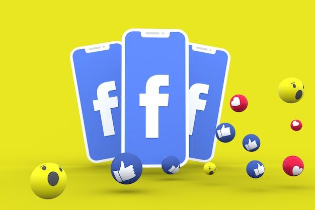 Ícone do facebook na tela do smartphone e reações no facebook