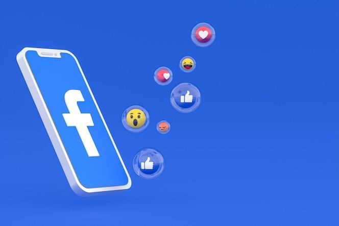 Ícone do facebook na tela do smartphone ou renderização 3d do telefone móvel