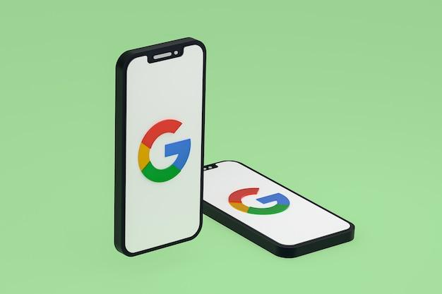 Ícone do google na tela de telefones celulares renderização em 3d