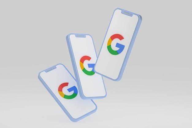 Ícone do google na tela do smartphone ou renderização 3d do telefone móvel