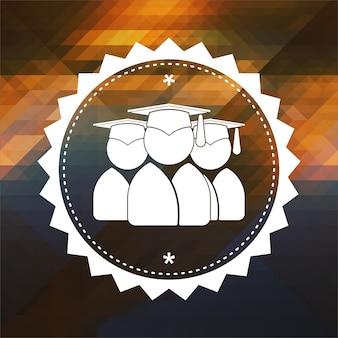 Ícone do grupo de graduados. design de rótulo retrô. fundo de hipster feito de triângulos, efeito de fluxo de cor.