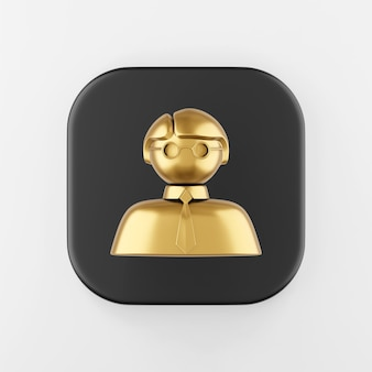 Ícone do homem dourado. botão chave quadrado preto de renderização 3d, elemento interface ui ux.