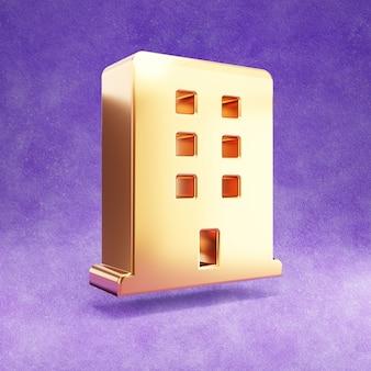 Ícone do hotel isolado em veludo violeta