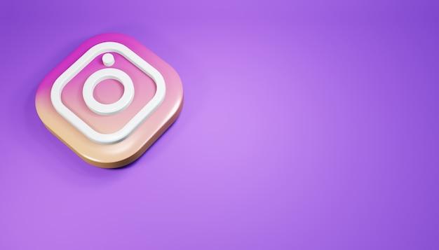 Ícone do instagram 3d render ilustração de mídia social roxa limpa e simples