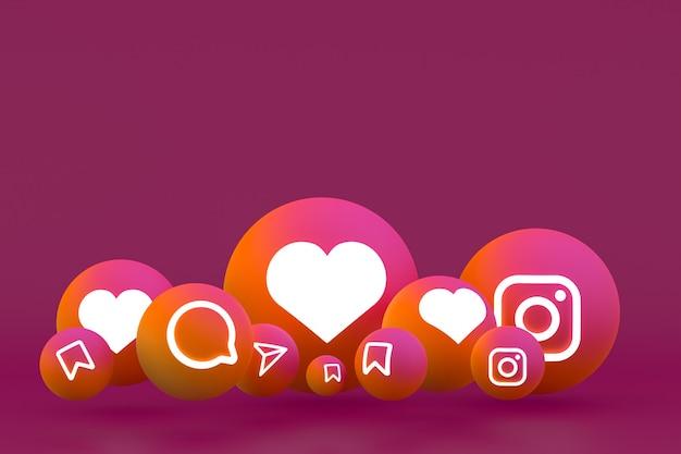 Ícone do instagram definido em vermelho