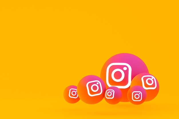 Ícone do instagram definido renderização 3d em fundo amarelo