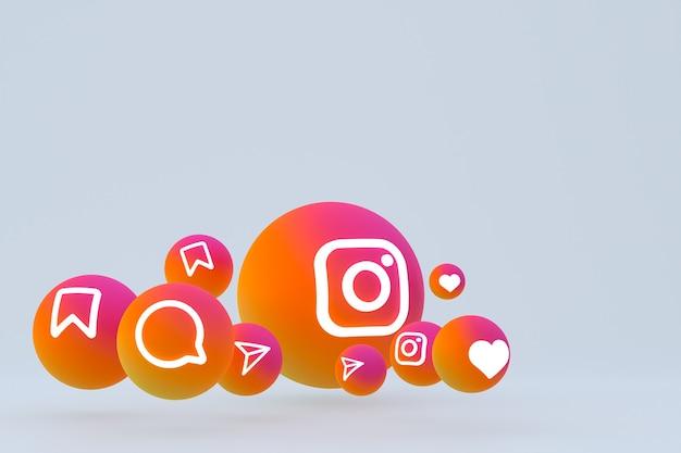 Ícone do instagram definido renderização 3d em fundo cinza