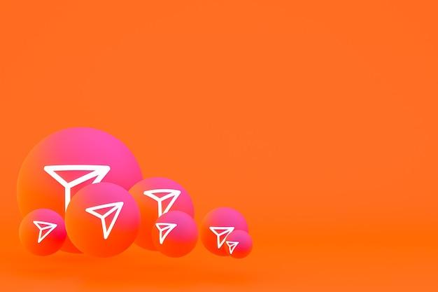 Ícone do instagram definido renderização 3d em fundo laranja
