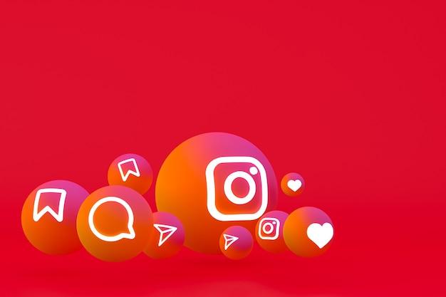 Ícone do instagram definido renderização 3d em fundo vermelho
